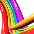 Rainbow colored cables over white Stock Image