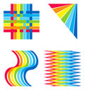 Rainbow colored decorative elements Royalty Free Stock Images