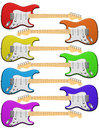 Rainbow colored electric guitars Royalty Free Stock Photo
