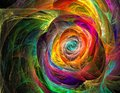 Rainbow colored fractal chaos spiral and twist, like a Royalty Free Stock Photo