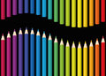 Rainbow Colored Pencils Seamless Wave Black Royalty Free Stock Photo