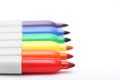 Rainbow colored permanent markers six Stock Photos