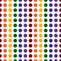 Rainbow colored polka dot textured fabric background that is seamless and repeats Stock Photo