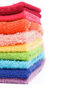 Rainbow Colored Towels Stock Image