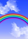 Rainbow colored white clouds Stock Photos