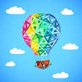 Rainbow colors abstract triangles flying balloon sky clouds Royalty Free Stock Images