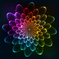 Rainbow colors vector cosmic flower futuristic abstract Stock Image