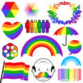 Rainbow colour icon collection Stock Image