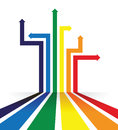 Rainbow coloured arrow line perspective background Royalty Free Stock Photo
