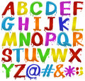 Rainbow coloured letters of the alphabet Royalty Free Stock Photo