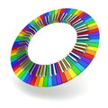 Rainbow coloured piano keyboard circle creativity concept d illustration on white background Royalty Free Stock Images