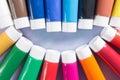 Rainbow colours smile - multicolored acrylic paints tubes set Royalty Free Stock Photo