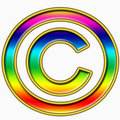 Rainbow copyright symbol Royalty Free Stock Images