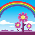 Rainbow and cosmos flowers under the blue sky vector Stock Photo