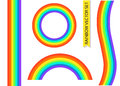 Rainbow in different shape. Realistic Set Isolated vector illustration Royalty Free Stock Photo