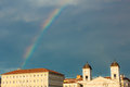 Rainbow on the docks of trieste storm is passed city Royalty Free Stock Photo