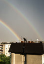 Rainbow double over the buildings of the city of stara zagora bulgaria Royalty Free Stock Photography