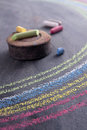 Rainbow drawn with chalk Royalty Free Stock Photo