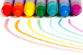 Rainbow drawn in colored chalks crayons Royalty Free Stock Photos