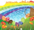 Rainbow Easter landscape Royalty Free Stock Photo