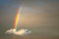 Rainbow in the evening sunset sky coming from the clouds. Royalty Free Stock Photo