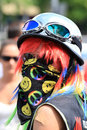 Rainbow face colorful girl s during the march of equality in warsaw Royalty Free Stock Photo