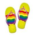 Rainbow Flag Flip Flops Vector...