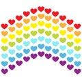 Rainbow flag line backdrop. Heart shape. LGBT gay symbol. Pride sign. Colorful line set. Flat design. Happy Valentines Day. Love