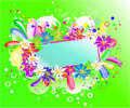 Rainbow  floral banner Stock Photos