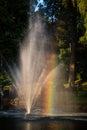 Rainbow in a fountain cesis latvia Royalty Free Stock Photo
