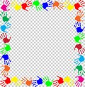 Rainbow frame with multicolored handprints border
