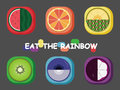 Rainbow fruit eat the to keep health and happy life Stock Image