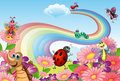 A rainbow at the garden with insects illustration of Stock Photography