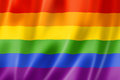 Rainbow gay pride flag three dimensional render satin texture Royalty Free Stock Photography
