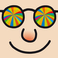 Rainbow Glasses Cartoon Man Royalty Free Stock Image