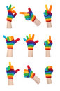 Rainbow Gloves Gesturing Stock Photography