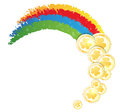 Rainbow and gold coins on white background st patricks day symbol Royalty Free Stock Images