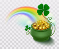 Rainbow, green leaf lucky clover and pot full of gold Royalty Free Stock Photo