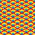 Rainbow half circle star seamless pattern