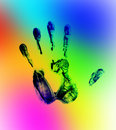 Rainbow hand print Royalty Free Stock Images