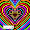 Rainbow heart background with decoration of love.