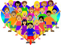 Rainbow Heart Kids/eps Royalty Free Stock Photo