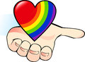Rainbow heart in the palm Royalty Free Stock Photo