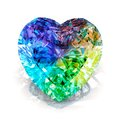 Rainbow heart shape diamond. Beautiful shape emerald image with reflective surface. Render brilliant jewelry stock image. Royalty Free Stock Photo