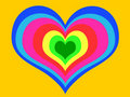 Rainbow heart on yellow background Royalty Free Stock Photography