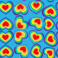 Rainbow hearts seamless pattern all coloured texture background for wrapping package or wallpaper Royalty Free Stock Photos