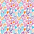 Rainbow Hearts seamless pattern. Vector repeating texture. Bright ornament for wrapping paper, kids textile design or fashion prin Royalty Free Stock Photo