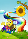 A rainbow at the hilltop with a bee and a beehive illustration of Royalty Free Stock Photography