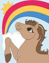 Rainbow horse enjoying a pretty and sunshine Royalty Free Stock Photos