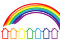 Rainbow houses Stock Images